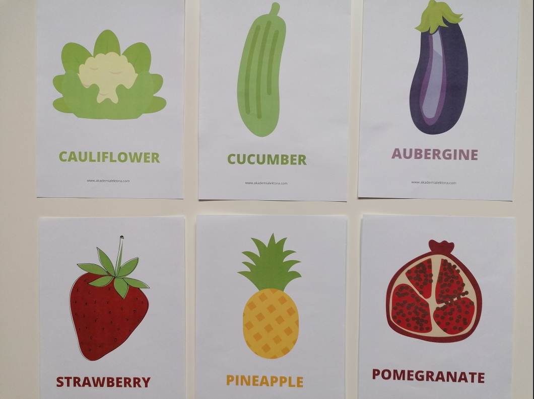 fruit and vegetables flashcards